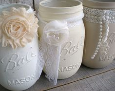 3 mason jars blues beach wedding turquoise by bigredbarnbam