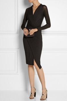 Donna Karan's wrap-effect dress is the ultimate figure-flattering style to anchor your evening wardrobe. Crafted from panels of double-layer stretch-jersey and finished with semi-sheer sleeves, this design highlights a nipped-in waist. Team yours with stacked sandals and a box clutch.