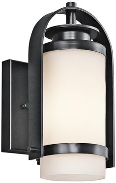"Outside lights on front porch!  LOVE these! Kichler Westport 10 1/2"" High Black Outdoor Wall Light -"