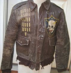 WWII B17 Painted A2 Bomber Jacket Named D Day Vet 452nd Tail Gunner w Insignia