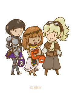 Reyna (knight), Piper (Cleopatra xD) and Annabeth (pilot)