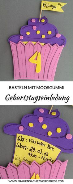 Hier findet ihr eine einfache Schritt für Schritt Anleitung für tolle bunte Einkadungskarten oder Geburtstagskarten. Ganz neutrale Geburtstagskarten für Mädchen und Jungs. Einladungen für den Mädchen Geburtstag Einhornparty, Kindergeburtstag, Muffin Einladung, Basteln für Erzieherinnen, Einladung basteln mit Moosgummi! Ausgefallene Einladungen basteln in Pink und Lila