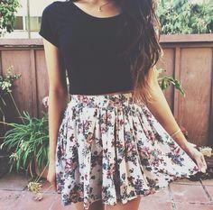 black tee + floral skirt