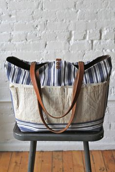 Liberty Stripe Cotton  Work Apron Tote Bag