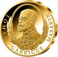 """T. G. Masaryk na medaili z certifikovaného (fairmined) zlata. Zlato s označením """"Fairmined"""" je zárukou zodpovědné těžby, která nezatěžuje přírodu a pomáhá zvýšit životní úroveň horníků a jejich rodin."""