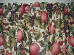 Butterflies Grapes Apples country farm kitchen fabric curtain topper Valance #Handmade #Cottage