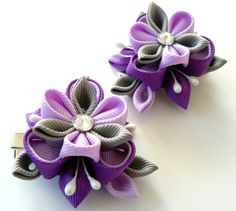 Kanzashi  Fabric Flowers. Set of 2 hair clips. Purple and by JuLVa