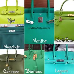 Hermes greens part 1 - color chart