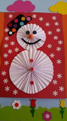Create Christmas dolls with paper rosettes Create dolls .- Create Christmas dolls with paper rosettes Create Christmas dolls with paper rosettes - Christmas Crafts For Kids To Make, Christmas Activities, Diy Crafts For Kids, Kids Christmas, Holiday Crafts, Art For Kids, January Crafts, Theme Noel, Snowman Crafts