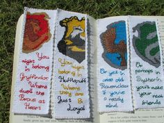 Harry Potter Hogwarts house crests quote bookmark set (Gryffindor, Hufflepuff, Ravenclaw, Slytherin) Custom orders available! Cross Stitch Harry Potter, Harry Potter Bookmark, Harry Potter Hogwarts, Cross Stitching, Cross Stitch Embroidery, Embroidery Patterns, Cross Stitch Patterns, Slytherin, Mochila Crochet