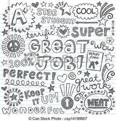 Vector - Priase Encouragement Words Doodles - stock illustration, royalty free illustrations, stock clip art icon, stock clipart icons, logo, line art, EPS picture, pictures, graphic, graphics, drawing, drawings, vector image, artwork, EPS vector art