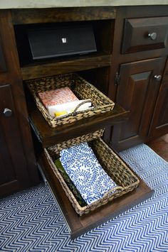 Diy pullout baskets, for open cabinets. Crazy great ideas for linens or produce. | Young House Love |