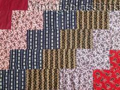 "ANTIQUE c1880 Rich Fabrics Streak 'O Lightening Summer QUILT 71"" x 63"""