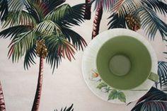 ivory palm tree barkcloth placemats