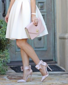 Blush Bow Heels //  http://www.stylishpetite.com/2014/12/asos-embelisshed-prom-dress-and-blush.html