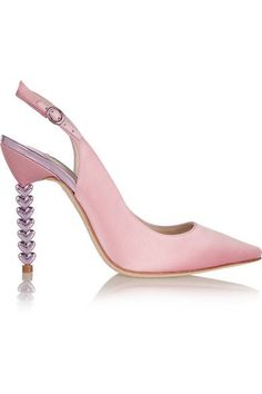 "TOUCH OF PINK: Sophia Webster's 'Tyra' pumps are part of the label's bridal collection - the soles bear the phrase 'Wifey for Lifey'. Wear this lustrous pastel-pink satin pair to add ""a little flourish"" to classic dresses as recommended by the designer, or to give a white wedding gown a pop of color. The heel is made from polished lavender hearts."