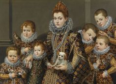 1604 Lavinia Fontana (1552-1614)  Portrait of Bianca Degli Utili Maselli with Six of Her Children and a dog & a bird.