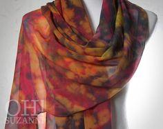 """Unique Multicolor Hand Dyed Silk Scarf 20"""" x 85"""". Large Shibori Scarf in Bohemian Style // Unique Shibori Scarvesby Oh Suzanni.. $95.00, via Etsy."""