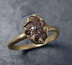 Raw Diamond Engagement Ring Rough Brown Diamond Solitaire Recycled 14k gold Conflict Free Wedding Promise byAngeline