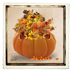 """""""Autumn Floral Arrangement"""" by sgolis ❤ liked on Polyvore featuring art, autumn, autumndecor and homedeocr"""
