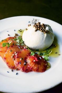 Burrata With Blood Orange, Coriander Seeds, and Lavender Oil: Make One of Yotam Ottolenghi's Most Popular Dishes Yotam Ottolenghi, Ottolenghi Recipes, Brunch Recipes, Healthy Dinner Recipes, Gourmet Recipes, Cheese Recipes, Cheese Dishes, Meal Recipes, Chicken Recipes