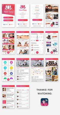 Natural Beauty and Spa Salon App UI Kit on Behance Ui Design Mobile, App Ui Design, Web Design, Resume Design, Interface Design, User Interface, Parlour Design, Beauty Spa, Natural Beauty