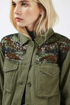 Go luxe with your outwear this season in this shacket with stand-out camouflage sequin detailing. In a lightweight feel, the shacket also features an elasticated hem and button up fastening.