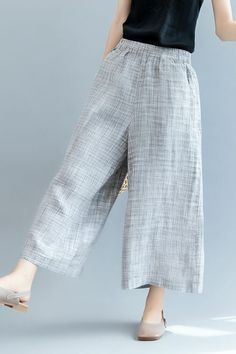 Fashion Gray Wide Leg Pants Women Linen Trousers K. Linen Pants Women, Linen Trousers, Trousers Women, Pants For Women, Clothes For Women, Khaki Pants Outfit, Frocks And Gowns, Moda Casual, Pants Pattern