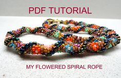 My Flowered Spiral Crochet Beads Rope PDF Tutorial (advanced & beginners) for personal use only. $15.00, via Etsy.