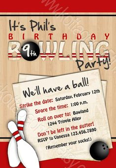 Bowling Party Printable Birthday Invitation By Kottageon5th 1600 Invitations