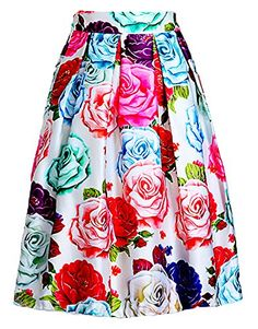Women's Elegant Colorful Peony Printed Midi Skater Skirt with Lined Swing Dress
