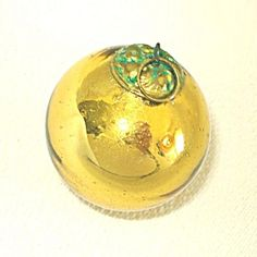 Small 1800s German Gold Kugel Christmas Ornament