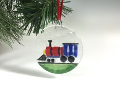 Train Ornament Fused Glass by Richmondglassworks on Etsy https://www.etsy.com/listing/251111860/train-ornament-fused-glass
