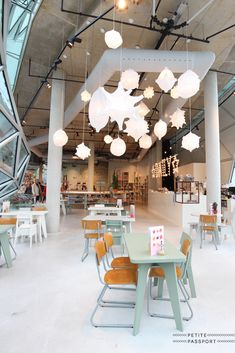 Sissy Boy - Eindhoven, unique lightning idea, restaurant interior design, style, lamps hanging, white