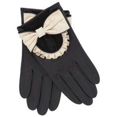 Gloves black white with bow