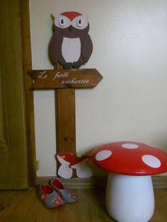 Je peaufine la déco dans la chambre de mes petites lutines,hibou,champignons...j'adore!