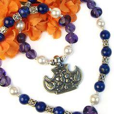 Flower Birds Pendant Necklace Lapis Gemstone Amethyst Glass Handmade   PrettyGonzo - Jewelry on ArtFire