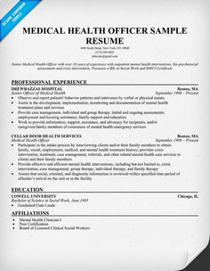 medical health officer resume sample http resumecompanion com