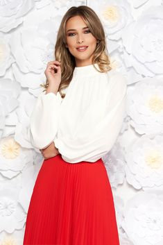 StarShinerS white elegant flared women`s blouse from veil fabric with inside lining long sleeved, easy cut, long sleeves, voile fabric, thin fabric, back buttons fastening, inside lining