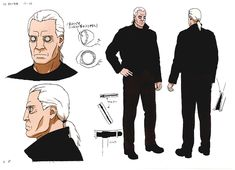 Ghost In The Shell - Innocence - Character Design Character Sheet, Character Concept, Character Reference, Art Reference, Concept Art, Good Animated Movies, Shell Tattoos, Masamune Shirow, Police Detective