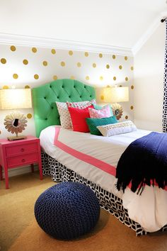 Interior Design: Tween Girl Bedroom Makeover Pink, Navy, Gold and Green - Entertain | Fun DIY Party Craft Ideas