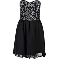Boohoo Lia Boutique Bandeau Embellished Prom Dress ($52) ❤ liked on Polyvore featuring dresses, boohoo dresses, prom dresses, bandeau dress, cocktail dresses and women dresses