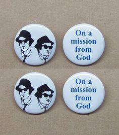Blues Brothers & On A Mission From God 4 button set by MemoraDelia
