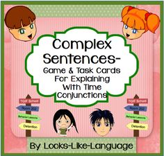 Learn to combine sentence fragments (using when, while, as, before, after) in this great game from Looks-Like-Language!  Strategies and 54 game/task cards for discussing inappropriate school behaviors.