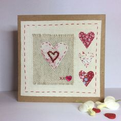 Hand stitched and perfect for an engagement or anniversary my four hearts card has just been listed in my shop