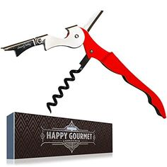 Waiters Corkscrew by Happy Gourmet Kitchenware  Allinone Wine Corkscrew Opener Bottle Opener and Foil Cutter Red >>> Find out more about the great product at the image link.