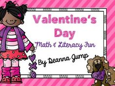 "Valentine's Day Math and Literacy Fun   Completely redone on Jan. 17, 2014 This unit will be the perfect addition to your Valentine's Day fun.  It includes an original story for Shared Reading picture cards  Word cards to play ""Bee"" the word Emergent Reader Sorting hearts literacy center with two levels for differentiation recording sheet Graph for the kids to use to sort and graph their Valentine's Day cards Writing sheets Valentine Math probability game with spinner and recording ..."