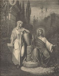Stock Photo - Bible Illustration Of Jesus and the Woman of Samaria By Gustave Dore Gustave Dore, Bible Illustrations, Illustration Art, Fine Art Prints, Canvas Prints, Canvas Art, Saint Dominique, Images Bible, Illustrator