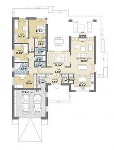 Dakota V - Dobre Domy Flak & Abramowicz Plans Architecture, Architecture Design, My House Plans, Small House Design, Home Design Plans, Facade House, House Layouts, My Dream Home, Planer