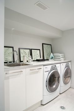 Basement Laundry Room-Surface space is maximized in this tidy basement laundry room #home #decor